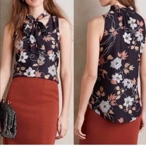 Anthropologie Maeve floral bow tie tank